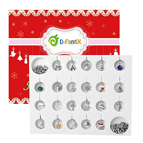 D-FantiX Jewelry Advent Calendar for Girls 2020 Christmas Advent Calendar DIY Bracelet Necklace Charms Making Kit Xmas Countdown Calendar Christmas Ornament Decoration