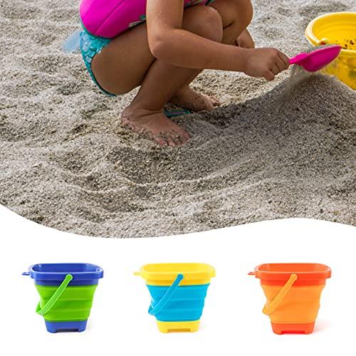 Juego de cubos de arena y palas de arena para niños, de silicona, portátil, cubo plegable para juegos de playa para niños, 2,5 L, 3 piezas (cuadrado)