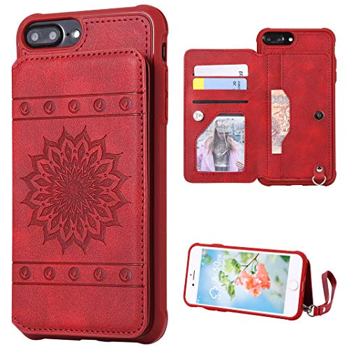 LolStore iPhone 7 Plus Case Flip, iPhone 8 Plus Case,iPhone 6 Plus Wallet Case [Kickstand and Card Holder Slots] Leather Magnetic Wallet Cover Case[ Embossed Sunflower ] 5.5 inch - Red