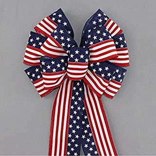 """Stars and Stripes Patriotic Flag Bow - 13"""" wide"""