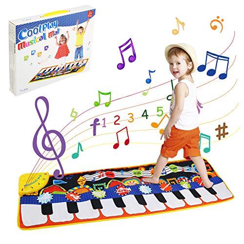LinStyle Tappeto Musicale Bambini, 5 Modalit¡§¡è & 8 Suoni Piano Tastiera Danza Stuoia Strumento Musicale, Giocattoli Bambino 3 anni, Bambini Educativo Giocattolo Perfetto Regalo per Bambini 110x36cm