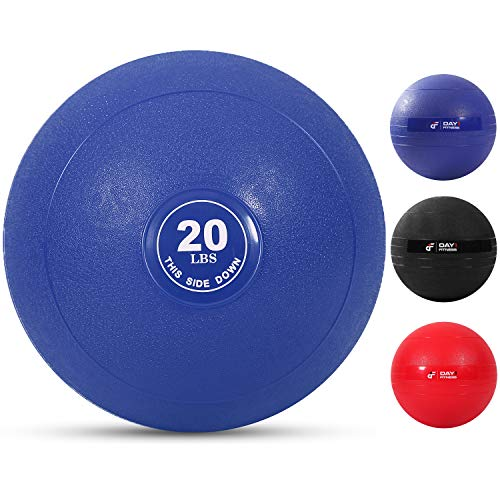 Weighted Slam Ball by Day 1 Fitness – 20 lbs NAVY  No Bounce Medicine Ball  Gym Equipment Accessories for High Intensity Exercise Functional Strength Training Cardio CrossFit