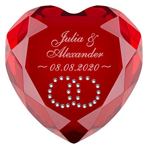 Geschenke 24 Liebesherz mit Gravur (Rot - Ringe in Weiß) - personalisiertes Liebesgeschenk für sie und ihn – romantischer Diamant aus Kristallglas mit Namen gravieren