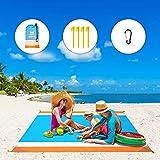 WIWIGO Sand Free Beach Blanket Lightweight Waterproof Beach Mat, Outdoor Portable Picnic Mat for Travel, Camping, Hiking Compact Sand Proof Mat Quick Drying (Orange&Blue)
