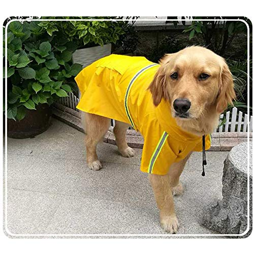 okdeals Dog Raincoat Leisure Waterproof,Dog Poncho with Hood Transparent Brim,Adjustable Dog Reflective Raincoat for Medium Dogs Yellow