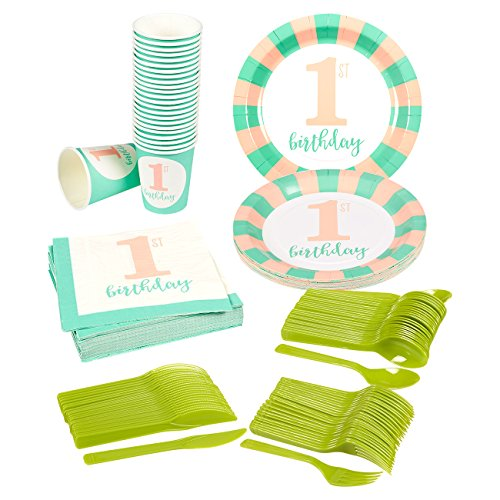 Girl's First Birthday Party Supplies – Serves 24 – Includes Plates, Knives, Spoons, Forks, Cups and Napkins. Perfect Girls 1st Birthday Party Pack for Kids Girl Birthday Themed Parties.