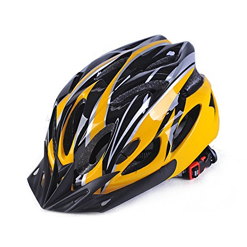 Lightweight Allround Cycling Helmets, Adjustable Mountain & Road Bike Helmets for Adults, 18 Vents with Adjustable Strap Fits Head Sizes 57-63cm Black & Yellow