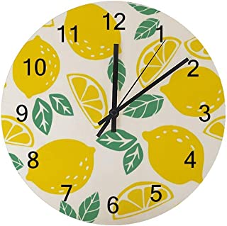 Hapuxt Wall Clocks Round Wooden No Ticking Sound Quartz Quiet Movement AA Battery Operated Yellow Lemons Green Leaves Hom...