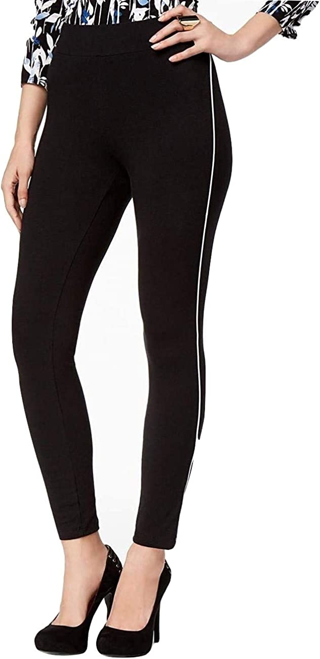 Thalia Sodi Black Pipe-Trim Leggings Deep Black Colorblock XS