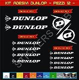 Pimastickerslab Kit Adesivi Stickers Dunlop Sponsor Tecnici gomme Pneumatici Moto Scooter -12 Pezzi- -Scegli Colore- Bike Motorbike cod.0569 (Bianco cod. 010)