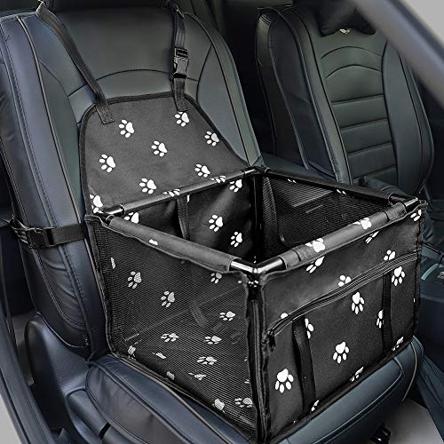 HIPPIH Small Dog Car Seat, Upgraded Sturdy Pet Car Seat for Medium Dogs with Whole PVC Bars Frame, Dog Booster Seats for Vehicles with Anti-Skid Mat, Puppy Car Seat for Pets Under 11 lb