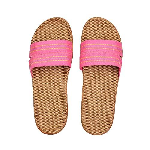Sandaliaszapatillas De Lino Natural Sandalias De Interior Para El Hogar De Verano Mujeres Hombres Unisex Primavera Y Otoño Parejas-Pink_13_Us