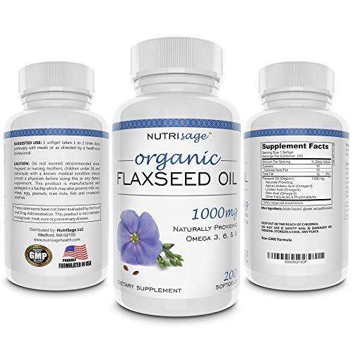 Premium Organic Flaxseed Oil Softgels. Excellent Source of Omega 3 6 9 for Healthy Heart, Skin and Hair! Boost Metabolism and Weight Loss. All Natural Flax Seed Oil 1000mg Pills. for Healthy Living.