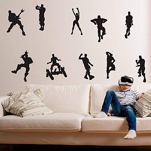 ALiQing Calcomanía de pared para juegos de patinaje musical, danza, pegatinas de pared para niños, adolescentes, dormitorio, sala de juegos, decoración de pared (negro)