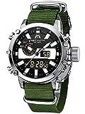 MEGALITH Reloj Hombre Relojes Militares Digitale Deportivos Cronometro LED Impermeable Relojes Hombre Multifuncion Esfera Grande Relojes Analógicos Digital Hombre Nylon Plata Alarma Fecha