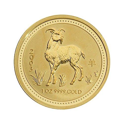 Perth Mint 1 oz Australien - 100 AUD Lunar I Ziege 2003 - 1 Unze 999,9/1000 Gold - gekapselt