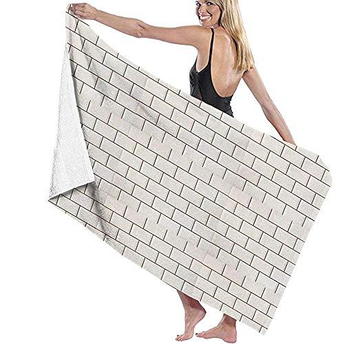 dingjiakemao Wasdoek Handdoek Wit Metro Tegels Patroon Muur Patroon Badhanddoeken Natuurlijke Milieuvriendelijke 80X130Cm Geschikt voor Camping, Gym, Yoga,Zwemmen, Reizen