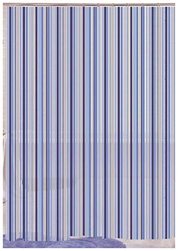 LINEARE BLAU STRIPE DESIGNER-DUSCHVORHANG PEVA, 180 X 180 CM