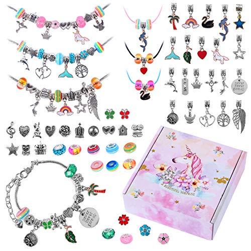 Unicornio Pulsera para niña Kit de fabricación de Joyas para niña Kit para Hacer Joyas para niñas, Kits para Hacer Pulseras con dijes Colgantes Cuentas Cadenas, Juegos de artesanías para niños