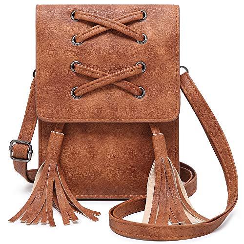 ZVE Kleine Leder Umhängetasche für Damen Smartphone Geldbörse mit abnehmbarem Riemen zum Einkaufen, Comfort, Small, braun