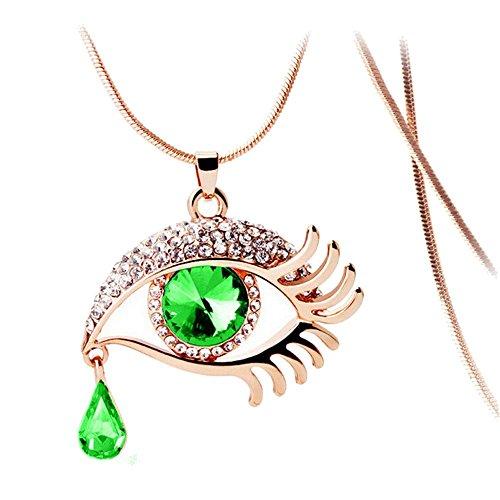 Halskette lange Pullover Kette,PAOLIAN Damen Halskette Mode Magie Auge Crystal Tear Drop Wimpern lange Halskette Kette (Grün)