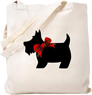 CafePress Scottie Dog With Bow Natural Canvas Tote Bag, Reusable Shopping Bag