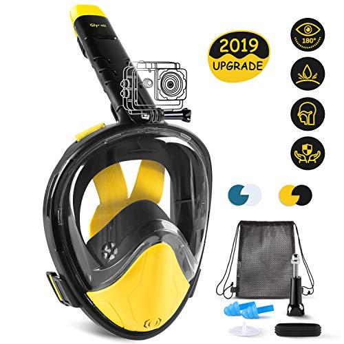Glymnis Vollmaske Tauchmaske Schnorchelmaske Vollgesichtsmaske mit 180° Sichtfeld aus Silikon Anti-Fog und Anti-Leck Halterung für Alle Erwachsene und Kinder L/XL (Verpackung MEHRWEG)