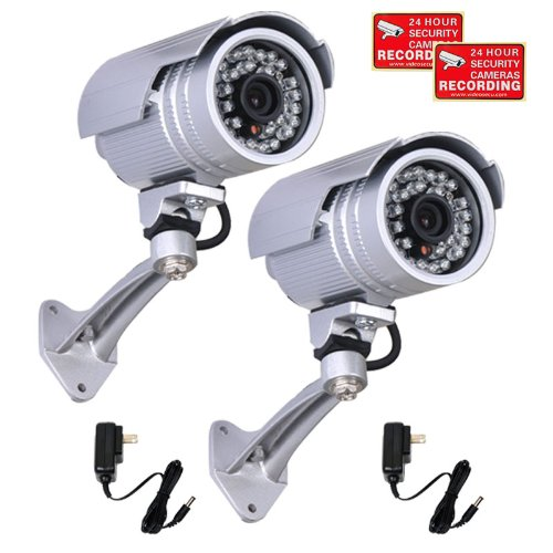 VideoSecu 2 Bullet Security Cameras Outdoor IR Day Night Vision Wide Angle Home Surveillance 30 Infrared LEDs with Power Supplies and Security Warning Stickers WI6