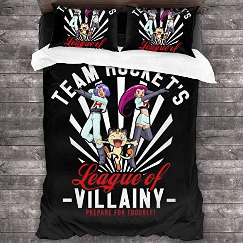 Knncch Team Rocket League of Villainy Monster of The Pocket Juego de Cama de 3 Piezas Funda nórdica Juego de Cama Decorativo de 3 Piezas con 2 Fundas de Almohada