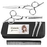 Corecio 散髪 はさみ セット ステンレス製 調整してお届け セルフ ヘア カット ハサミ すきバサミ 大人 子供 髪 美容 理容