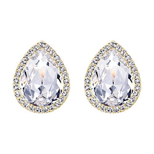 EVER FAITH Women's Austrian Crystal Wedding Teardrop Stud Earrings Clear Gold-Tone