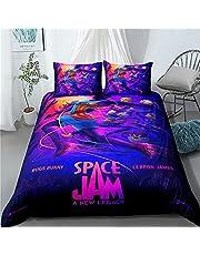 Space Jam:A New Legacy barn sängkläder, knoppar bunny mikrofiber påslakan med dragkedja set, sovrum dekorativt sängöverkast (Jam5, 135 x 200 cm 80 x 80 cm x 2)
