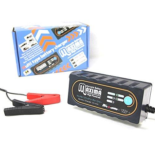 マキシマバッテリー 保証付 12V 全自動 マルチタイプバッテリー充電器 自動車/バイク用 リチウムイオンバッテリー/通常バッテリー兼用