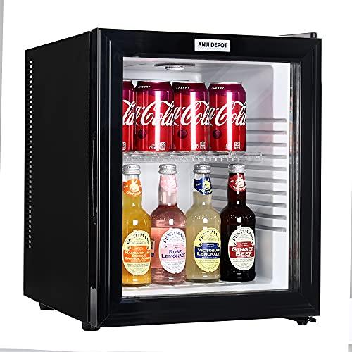 ANJI DEPOT Mini Wine/Drink/Beverage Cooler/Fridge, Built-In Thermostat, LED Light, Security Lock, Energy Class (32L)