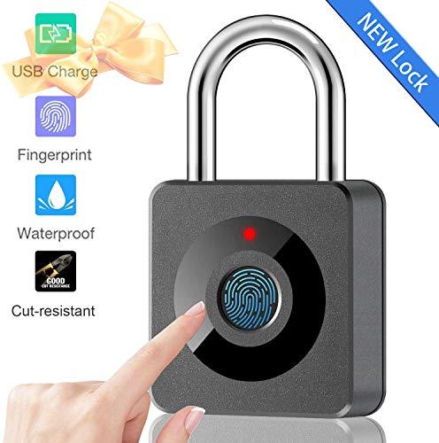 Fingerprint Lock Padlock Smart Keyless Security Locker Lock Fingerprint Lock Gym Lock IP65 Waterproof Anti-Theft USB Rechargeable Suitable for School Locker,Gym,Door,Cabinet,Suitcase,Backpack