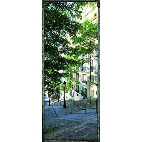 Trompe l' oeil Porta Adesivo Rue De Paris 2Decorazione da Parete, polivinilcloruro, Multicolore, 83x 0,1x 204cm