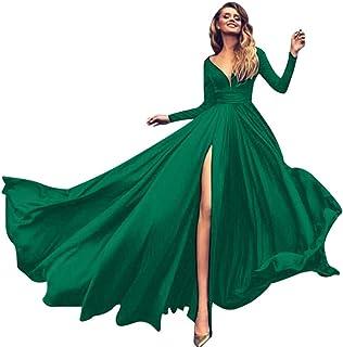 Botanmu Abiti Abaya Donna Islamico Maniche Lunghe Girocollo Abito Maxi Velluto Blu//Rosa//Verde//Rosso Vino