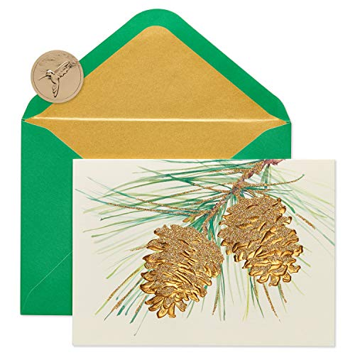 Papyrus Christmas Cards Boxed, Holiday Pine Cones (14-Count)