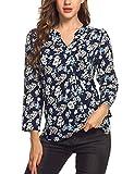 Meaneor Damen Locker Casual Bluse mit allover Blumenprint Beiläufig Bluse Schluppenbluse Klassic Hemd Blusenshirt Loose fit Baumwolle, Gr.-EU 40(Herstellergröße: L),Marine+Blumen