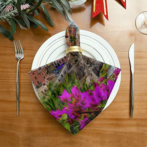 WDDHOME Serviette Schöne mediterrane Architektur Landschaftsdruck Stoff Servietten 20 x 20 Zoll Für Familienessen, Hochzeiten, Cocktail, Küche Geschirr Dekoration