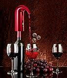Brand Set Decantador de vino,Aireador y dispensador de vino inteligente Smart pourer,Decantador automático de vino y dispensador de verter(Rojo)