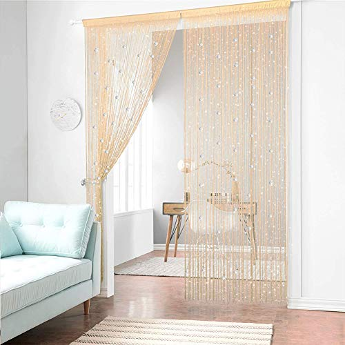 AIFENTE 2pcs Champagne Beads Curtains Beaded Door Curtains Panel String Curtain Hanging Curtains and Room Dividers Door Panel Curtains Divider Curtains Closet String Beads Curtain 39.37x78.74 inch
