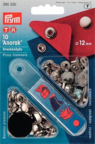 Prym Druckknöpfe, Non-Anorak Zum Annähen, Silber, 12 mm, 10 Stück