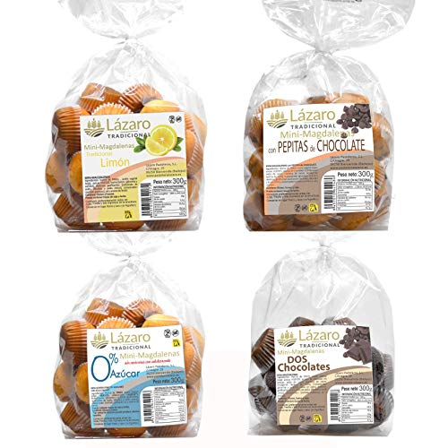 Lázaro Pack Surtido De Mini Magdalenas, 4 Tipos Diferentes. (Sabor Limón), (Dos Chocolates), (Con Pepitas De Chocolate) Y (0% Azúcar). 1200 g