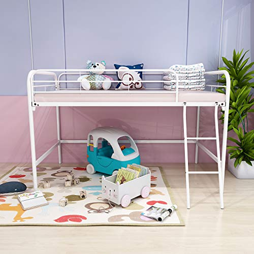 Modern Metal Loft Bed Twin Size Loft Kids Bed with Ladder and All Sides Safety Guardrail for Bedroom Space-Saver Multifunctional Design Metal Bed No Box Spring Needed White