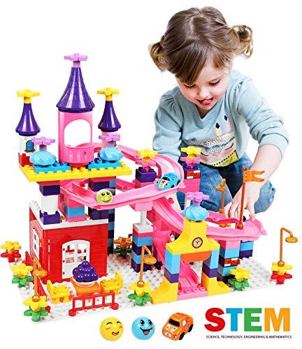 Castle Building Blocks Set Toys for Girls Princess Castle Large Building Blocks Bricks Race Track Kids STEM Educational Construction Roller Coaster Toys for Age 3+ Toddler Kid Boy Girl Gift Toy 161Pcs