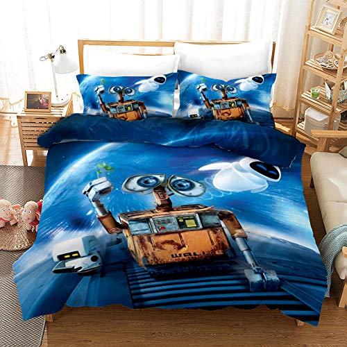 JKZHILOVE Bedding Duvet Cover 3 Piece Set Orange sky robot 55x79 inch Ultra Soft Hypoallergenic Microfiber Quilt Cover Sets with Zipper Closure & Corner Ties + 2 Pillow covers 50x75cm