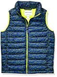Amazon Essentials Boys' Lightweight Water-Resistant Packable Puffer Vest Outerwear-Jackets, Navy Line Shark, Large