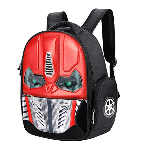Mochila de robot con efecto 3D y brillante, para la escuela, excursiones o viajes, para niños de 5-10 años, rojo (Rojo) - SHU-BAO-000020-IB-FR