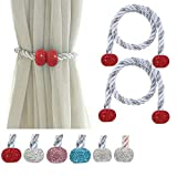 Fashowlife Magnetic Curtain Tiebacks Bling Bling Rhinestone Tie Backs Holders Clips for Home Office Decorative Rope Holdbacks 2 Pack (Red)